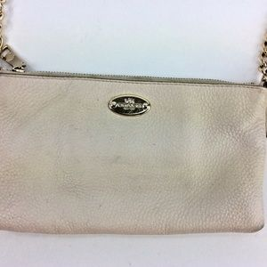 Genuine Coach Ivory Pebbled Leather Gold Chain Str